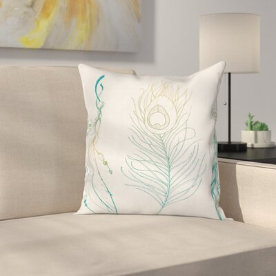 Case Feather Peacock Vintage Square Pillow Cover Size: 18 x 18