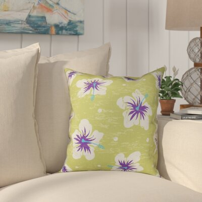 Pembrook Hibiscus Blooms Floral Throw Pillow Size: 20 H x 20 W, Color: Light Green