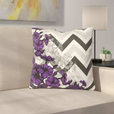 Santini Chevron Floral Throw Pillow Color: Purple, Size: 18 x 18
