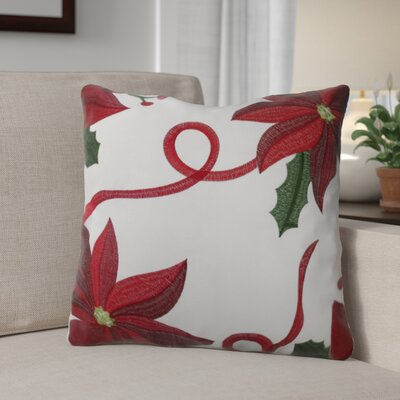 Bloomy Decorative Christmas Square Throw Pillow Color: White