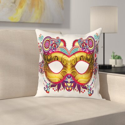 Mardi Gras Ornate Mask Square Cushion Pillow Cover Size: 16 x 16