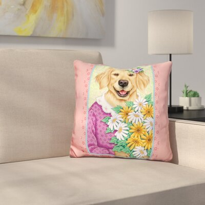 En Retriever Bouquet Throw Pillow