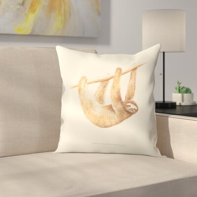Florent Bodart Css Animals Sloth Throw Pillow Size: 16 x 16