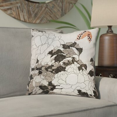 Clair Peonies with Butterfly Cotton Throw Pillow Color: Orange/Gray, Size: 14 x 14