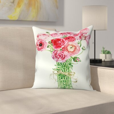 Pink Ranunculus Throw Pillow Size: 14 x 14