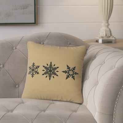 Leffel 3 Snowflakes Throw Pillow Color: Straw