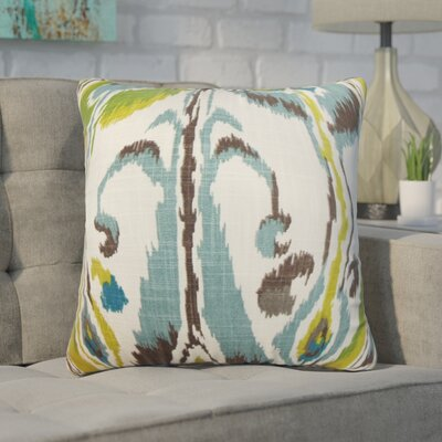 Wingfield Ikat Cotton Throw Pillow Color: Green