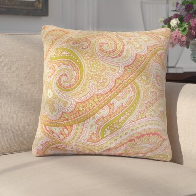 Kayley Paisley Cotton Throw Pillow Color: Melon
