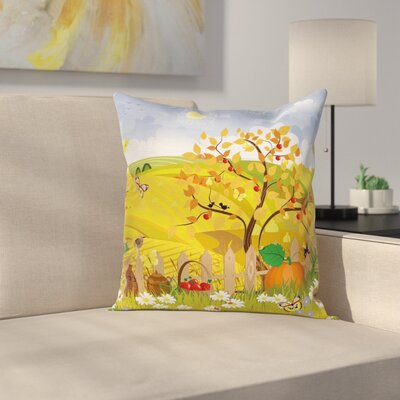 Kids Cute Autumn Garden Square Pillow Cover Size: 16 x 16