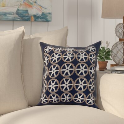 Crider Nautical Geo Square Geometric Print Indoor/Outdoor Throw Pillow Color: Navy, Size: 18 x 18