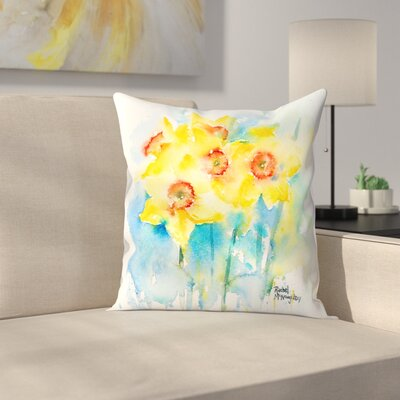Yellow Narcissus Throw Pillow Size: 18 x 18