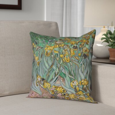 Bristol Woods Irises Waterproof Throw Pillow Color: Yellow, Size: 16 x 16