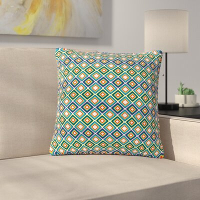 Nandita Singh Bright Squares Pattern Outdoor Throw Pillow Color: Blue, Size: 16 H x 16 W x 5 D