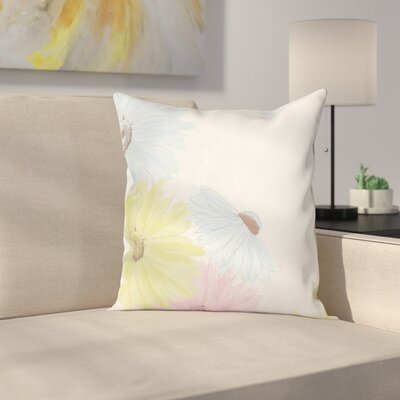 Pastel Colorful Gerbera Daisies Square Pillow Cover Size: 20 x 20