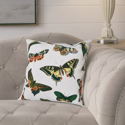 Swan Valley Butterflies Animal Outdoor Throw Pillow Size: 18 H x 18 W, Color: White