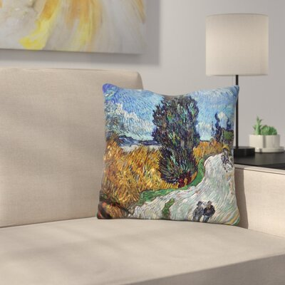 Road with Cypress and Star Throw Pillow