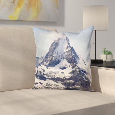Nature Glacier Summit Scenery Square Pillow Cover Size: 24 x 24