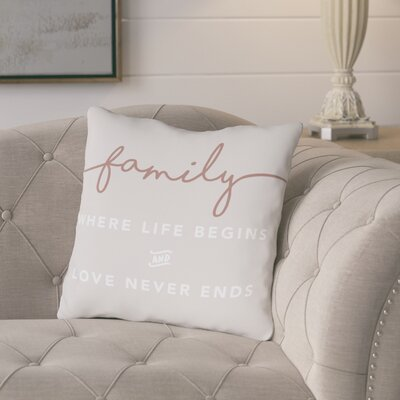 Porras Family Where Life Begins Throw Pillow Size: 18 x 18