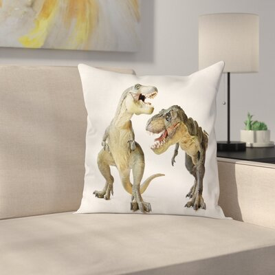 Dinosaur T-Rex Pair Predators Square Cushion Pillow Cover Size: 24 x 24