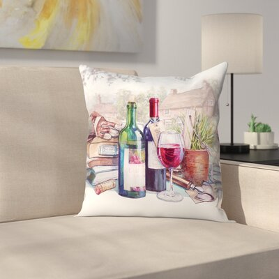 A Glass of Red Throw Pillow Size: 16 x 16