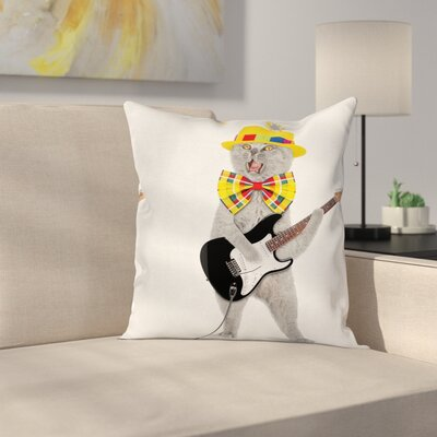 Cat Hipster Musician Kitty Fun Square Pillow Cover Size: 16 x 16