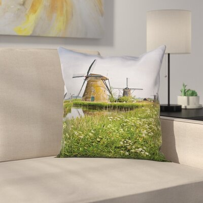 Windmill Decor Spring Country Square Pillow Cover Size: 16 x 16