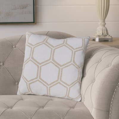 Elencourt Linen Throw Pillow Size: 18 H x 18 W x 4 D, Color: Light Gray/Beige, Filler: Down