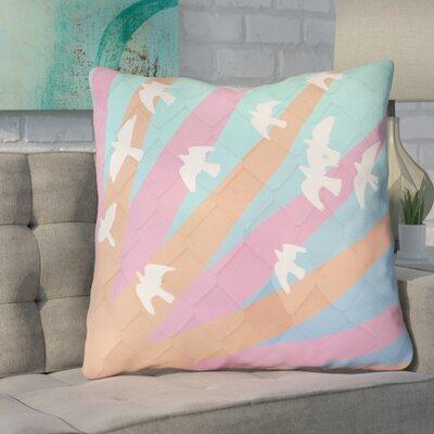 Enciso Birds and Sun 100% Cotton Euro Pillow Color: Orange/Pink/Blue