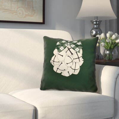 Jingle Bells Throw Pillow Size: 16 H x 16 W, Color: Dark Green