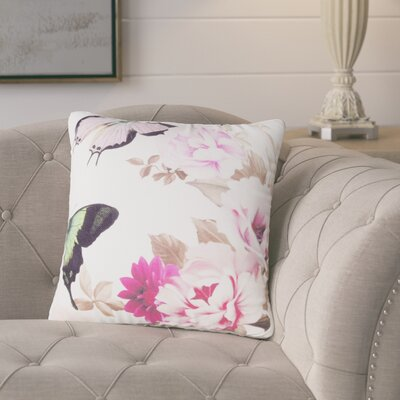 Vinita Butterfly and Flower Throw Pillow