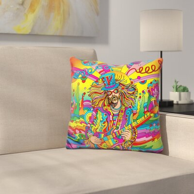 Hippie Musician III Throw Pillow Color: Red/Yellow