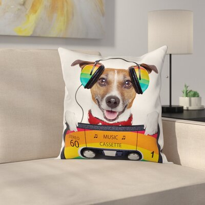 Dog Headphones Square Pillow Cover Size: 24 x 24