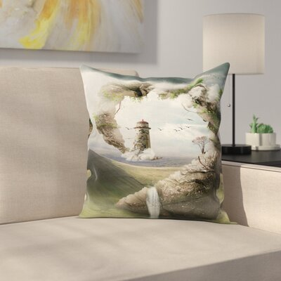 Fantasy Dreamland Stone Bridge Cushion Pillow Cover Size: 16 x 16