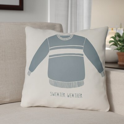 Sweater Weather Indoor/Outdoor Throw Pillow Size: 18 H x 18 W x 4 D, Color: White/Blue