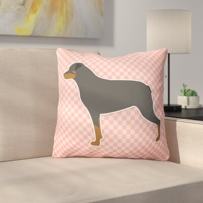 Rottweiler Square Indoor/Outdoor Throw Pillow Size: 14 H x 14 W x 3 D, Color: Pink
