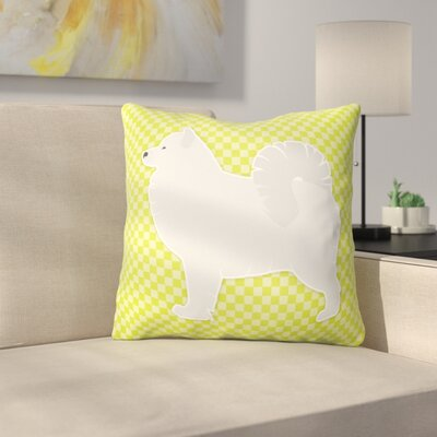 Samoyed Square Indoor/Outdoor Throw Pillow Size: 18 H x 18 W x 3 D, Color: Green