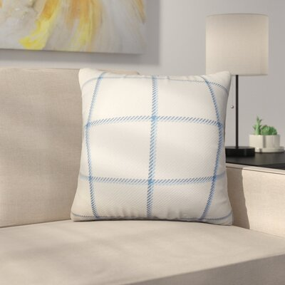 Rucker Plaid Cotton Throw Pillow Color: Blue