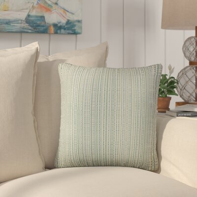Sigsbee Striped Cotton Throw Pillow Color: Aqua Green