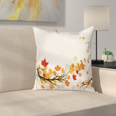 Fall Decor Autumn Branches Square Pillow Cover Size: 18