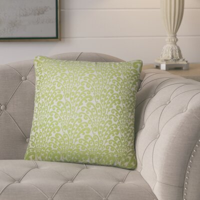 Battista Floral Throw Pillow Color: Green
