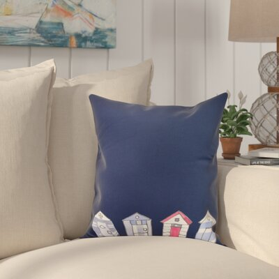Bryson Beach Huts Print Throw Pillow Color: Navy, Size: 16 x 16