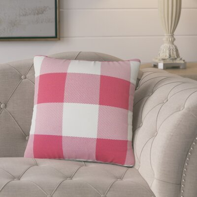 Pompa Plaid Cotton Throw Pillow Color: Pink