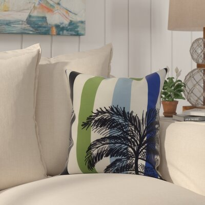 Johannes Stripe Palm Indoor/Outdoor Throw Pillow Color: Green, Size: 16 x 16