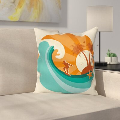 Retro Man Surfing Square Cushion Pillow Cover Size: 18 x 18