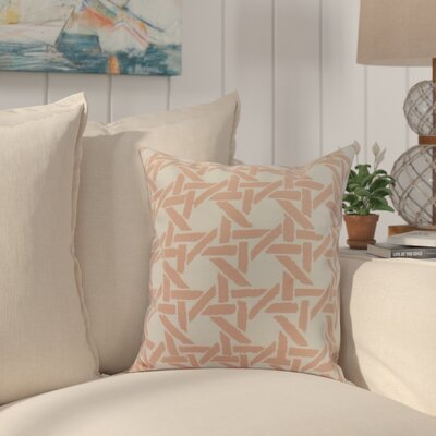 Cawley Rattan Geometric Print Indoor/Outdoor Throw Pillow Color: Coral, Size: 16 x 16