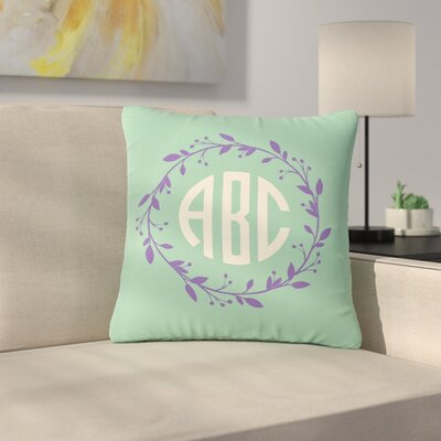 Classic Cream Wreath Monogram Typography Outdoor Throw Pillow Size: 16 H x 16 W x 5 D, Color: Teal