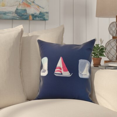 Crider Boat Trio Print Indoor/Outdoor Throw Pillow Color: Navy, Size: 18 x 18