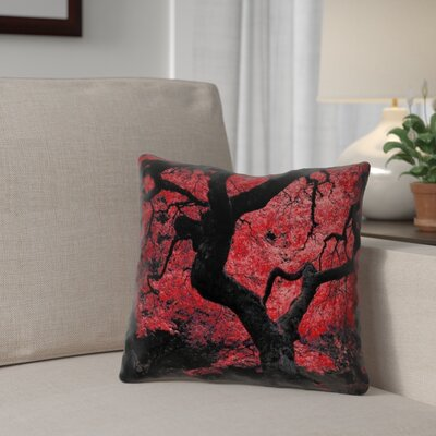 Ghost Train Japanese Maple Tree Square 100% Cotton Pillow Cover Color: Red, Size: 18 x 18