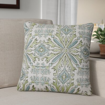 Peyman Damask Cotton Throw Pillow Color: Aqua Green