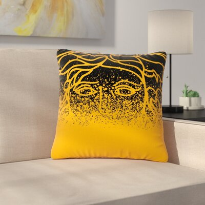 Just L Versus Spray Digital Outdoor Throw Pillow Color: Black/Gold, Size: 18 H x 18 W x 5 D
